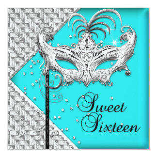 Sweet Sixteen 16 Teal Silver Masquerade Mask Invites