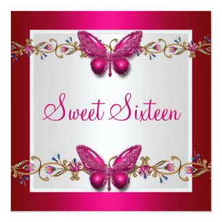 Sweet Sixteen 16th Birthday Butterfly Fushia Card