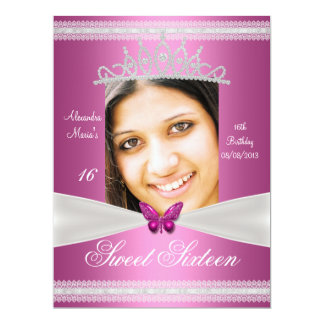 """Sweet Sixteen 16th Birthday Pink White Lace 6.5"""" X 8.75"""" Invitation Card"""