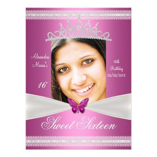 Sweet Sixteen 16th Birthday Pink White Lace Custom Invitations