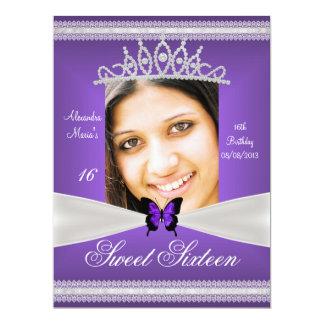 "Sweet Sixteen 16th Birthday Purple White Lace 6.5"" X 8.75"" Invitation Card"