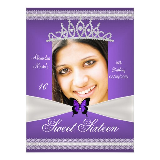 Sweet Sixteen 16th Birthday Purple White Lace Custom Announcements