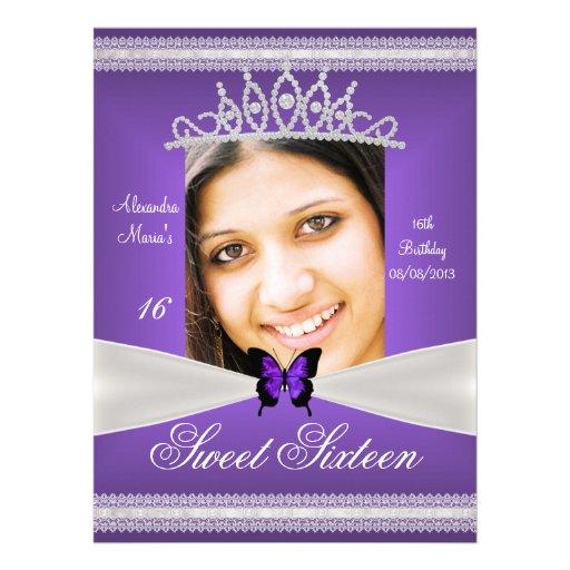 Sweet Sixteen 16th Birthday Purple White Lace Custom Announcements