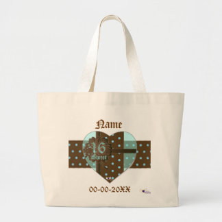 Sweet Sixteen Banded Heart Gifted Tote Bag -Cust.