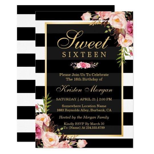 Sweet Sixteen Beautiful Floral Black White Stripes Card