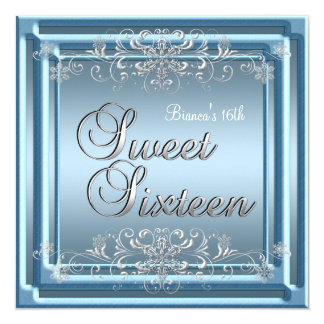 "Sweet Sixteen Birthday Blue Silver Teen Girl 5.25"" Square Invitation Card"