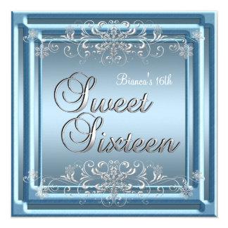 Sweet Sixteen Birthday Blue Silver Teen Girl Card