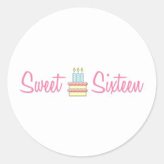 Sweet Sixteen (Birthday Cake) Classic Round Sticker