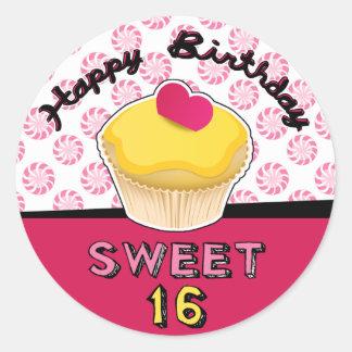 Sweet Sixteen Birthday Cupcake Stickers! Classic Round Sticker