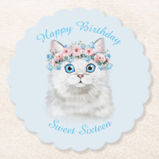 Sweet Sixteen Birthday Cute Kitten Paper Coaster