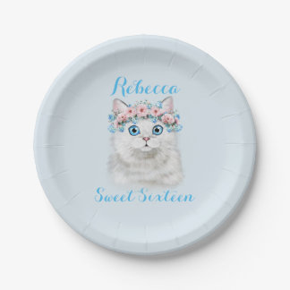 Sweet Sixteen Birthday Cute Kitten Paper Plate