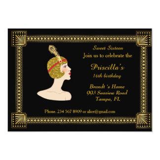 Sweet Sixteen birthday, Gatsby style, black & gold Card