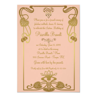 Sweet Sixteen Birthday, Gatsby style, Peach & Gold Card