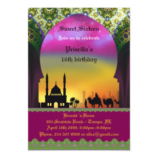 "Sweet Sixteen Birthday invitation, 16th,Arabian, 5"" X 7"" Invitation Card"