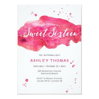 Sweet Sixteen birthday Invitation | pink splash