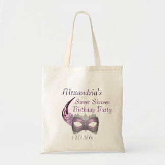 """""""Sweet Sixteen Birthday"""" - Lavender/Pink Lace Mask Budget Tote Bag"""