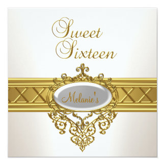 Sweet Sixteen Birthday Party Elegant White Gold Card
