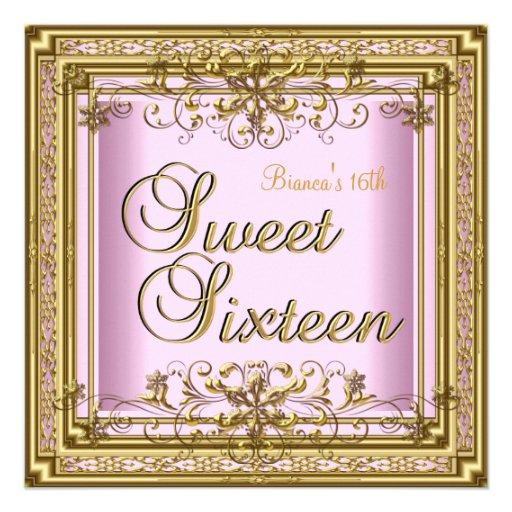 Sweet Sixteen Birthday Pink Gold Teen Girl Personalized Invitation