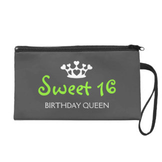Sweet Sixteen Birthday Queen - Lime Green and Gray Wristlet Clutches