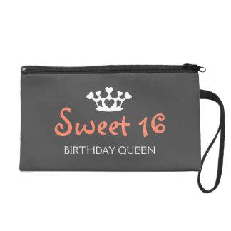 Sweet Sixteen Birthday Queen - Pink Wristlet