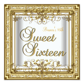 "Sweet Sixteen Birthday White Gold Teen Girl 5.25"" Square Invitation Card"