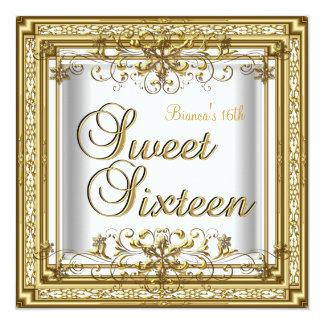 Sweet Sixteen Birthday White Gold Teen Girl Card