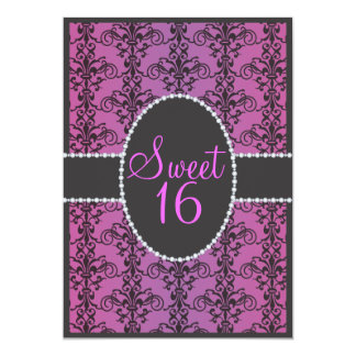 Sweet Sixteen Black Damask Purple Passion Party Card
