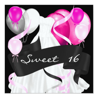Sweet Sixteen Black Pink White Dress Balloons Card