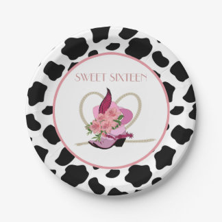SWEET SIXTEEN Cowgirl birthday Paper Plate