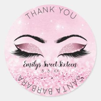 Sweet Sixteen Diamond Pink Rose Eyes Glitter Classic Round Sticker