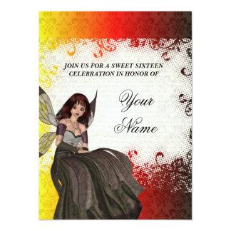 Sweet sixteen féerique gothique mignon carton d'invitation  13,97 cm x 19,05 cm