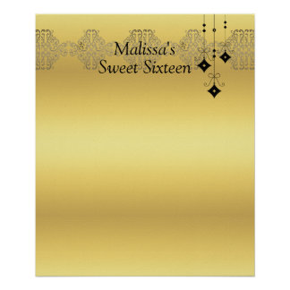 Sweet Sixteen Gold and Black Sign in Board Poster