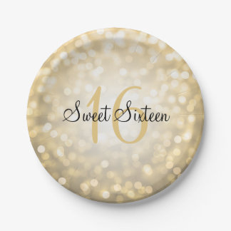 Sweet Sixteen Gold Glitter Lights Paper Plate