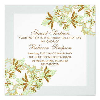 Sweet Sixteen Green Flowers Birthday Invitation