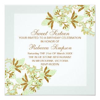 "Sweet Sixteen Green Flowers Birthday Invitation 5.25"" Square Invitation Card"