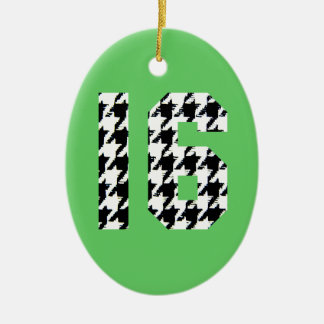 Sweet Sixteen Houndstooth Print Ceramic Oval Ornament