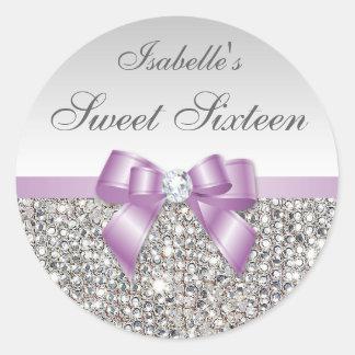 Sweet sixteen lilas de diamant d'arc de paillettes sticker rond