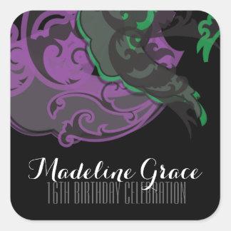 sweet sixteen MARDI GRAS BIRTHDAY keepsake label 1 Square Stickers
