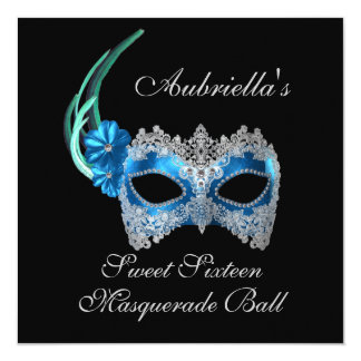 """Sweet Sixteen Masquerade Ball"" Turquoise Mask w/  Card"