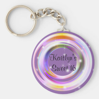 Sweet Sixteen, Neon Abstract, Party Favor Keychain