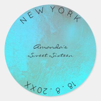 Sweet Sixteen Ocean Turquoise Blue Metallic Glass Classic Round Sticker
