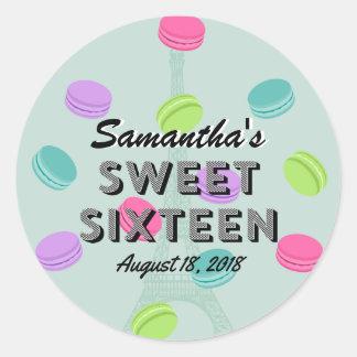 Sweet Sixteen Paris and Macaron Birthday Sticker