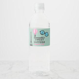 Sweet Sixteen Paris Birthday Water Bottle Label