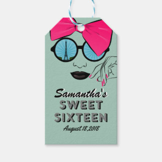 Sweet Sixteen Paris Theme Birthday Gift Tag