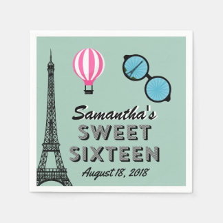 Sweet Sixteen Paris Theme Birthday Paper Napkin
