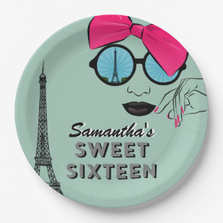 Sweet Sixteen Paris Theme Birthday Paper Plate