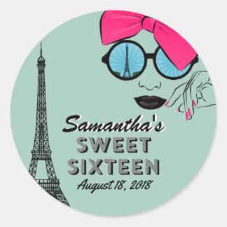 Sweet Sixteen Paris Theme Birthday Sticker Favor