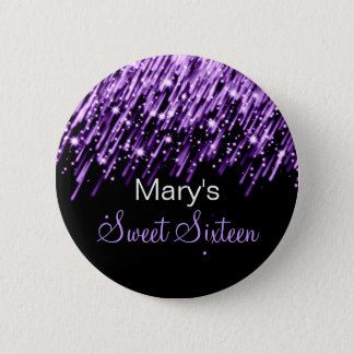 Sweet Sixteen Party Falling Stars Purple 2 Inch Round Button