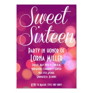 Sweet Sixteen Party Invitation   Pink City Bokeh