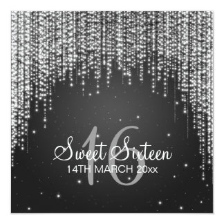 """Sweet Sixteen Party Night Dazzle Black 5.25"""" Square Invitation Card"""
